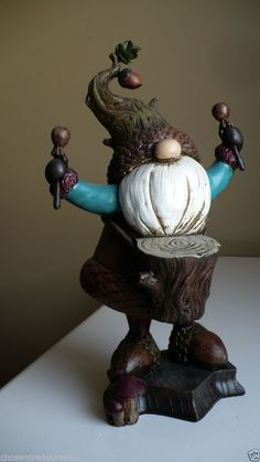 11.8 IN.musical GARDEN GNOME  PLAYS DRUMS acorn shape statue lawn ORNAMENT