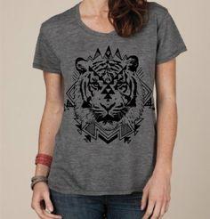 Womens Aztec TIGER BOHO Bohemian Slouchy T shirt screen print Top Alternative Apparel S M L XL More colors