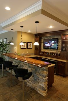 Every man's home is his castle but it's not complete without a home bar. To help you design your own, see our photo collection of the best home bar ideas. Basement Bar Designs, Home Bar Designs, Basement Decorating, Basement Renovations, Home Remodeling, Small Bars For Home, Home Bars, Diy Home Bar, In Home Bar Ideas