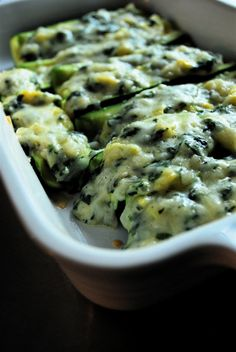 Spinach Stuffed Zucchini Boats