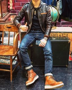 Stylish Mens Outfits, Casual Outfits, Men Casual, Big Men Fashion, Denim Fashion, Look Street Style, Red Wing Boots, Herren Outfit, Mens Fall
