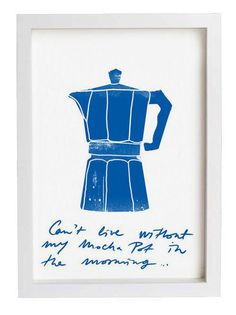 """Coffee Kitchen Art Print 8.3"""" x 11.7"""" - Can't live without my mocha pot - high quality fine art print on Etsy, $30.00"""
