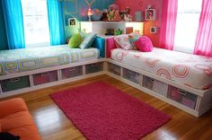 Great idea for spare bedroom.  Like the storage space beneath the beds.