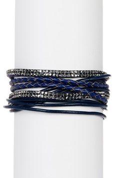 Navy Urban Wrap Leather Bracelet