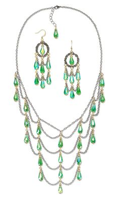 Bib-Style Necklace and Earring Set with Celestial Crystal® Beads, Gunmetal-Plated Brass Chain and Gold-Plated Brass Beads