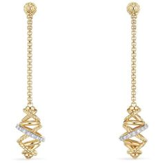 Women's David Yurman Crossover Chain Drop Earrings With Diamonds In... ($2,100) ❤ liked on Polyvore featuring jewelry, earrings, accessories, david yurman earrings, diamond earrings, 18 karat gold earrings, 18k gold earrings and pave diamond earrings