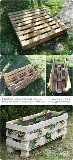 DIY Home Ideas. Love this pallet turned strawberry bed!! by laura