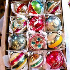 VTG 12 Shiny Brite Germany  Mica Triple Indent Fancy Jumbo Glass Xmas Ornament