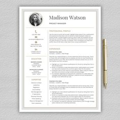 Resume Template | CV Template by Pro.Graphic.Design on @creativemarket Cv Design, Resume Design, Graphic Design, Resume Cv, Resume Tips, Modern Resume Template, Creative Resume Templates, Design Templates, Cover Letter Template