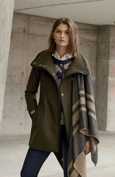 Burberry Brit 'Waltford' Belted Wool Blend Coat, Tarnock Pants, Blanket Wrap, Wool & Alpaca Blend Jacquard Sweater