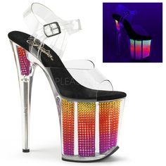 deb6dcba9be FLAMINGO-808SRS Pleaser Sexy Shoes 8 Inch Heel Ankle Strap Neon UV Rhinestone  Bling Platform