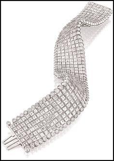 Oscar Heyman 54 carat, 6 row diamond bracelet in platinum.
