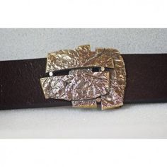 Abstract Belt with Solid Brass Buckle Handmade from Cellar Leather