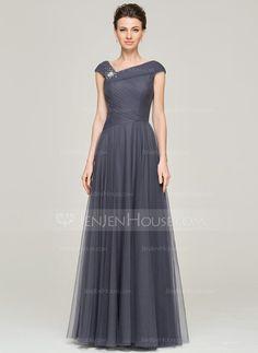 Forme Princesse Longueur ras du sol Tulle Robe de mère de la mariée avec Plissé Emperler Sequins (008062861)