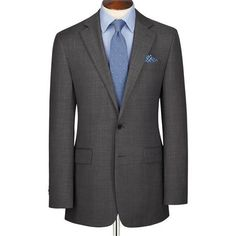 Grey Braybrooke sharkskin windowpane Classic fit business suit Traje Gris  Oscuro 2ec53bdc89b4