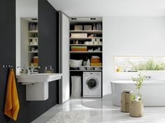 Furnishing ideas f bcr cabinets for utility room residential design utility room furniture examples. Bathroom Flooring, Bathroom Floor Plans, Bathroom Interior, Bathroom Solutions, Bifold Doors, Beautiful Bedrooms, Folding Doors, Home Appliances, Contemporary Bathroom