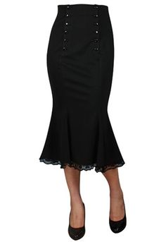 RK92-Double-Button-Mermaid-Skirt-Wiggle-Ruffled-Pencil-Rockabilly-Pin-Up-40s-50s