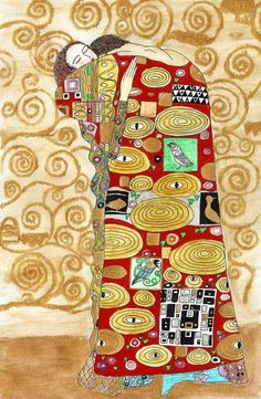 "Gustav Klimt - ""Embracing couple"" ... I love the ever-changing figures and colors schemes this pose has undertaken"