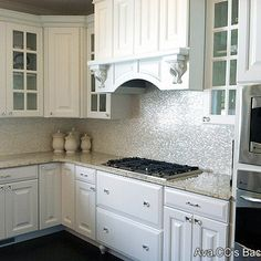 """***General white/bright kitchen look I love that needs to be made more Spanish for this house (SHA)  """"Pinterest: Mother-Of-Pearl backsplash"""""""