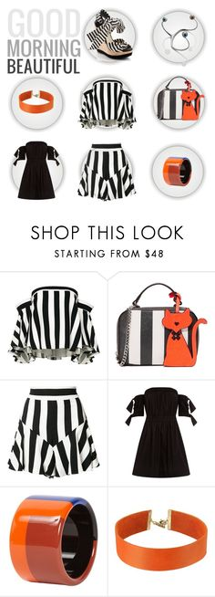 """""""Designer spot: Milly"""" by zouus ❤ liked on Polyvore featuring Amanda Pearl, Milly, Hermès, Vanessa Mooney, contemporary, milly, stripesskirt, stripesbag and stripestop"""
