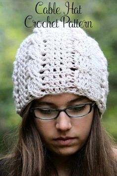 Crochet Pattern - This elegant crochet slouchy hat pattern features a classic cable design. Perfect for kids, women, and men. Includes all sizes. By Posh Patterns.
