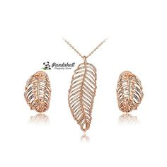 """Crystal feather pendant necklaces & stud earrings jewelry sets, 17.7"""" from Pandahall Flagship Store on Aliexpress.com"""