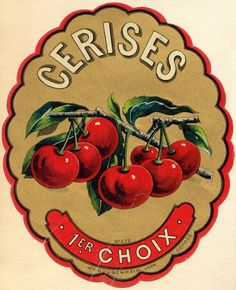 Paper Loves Glue: Life is a Bowl of Cerises!,... vintage fruit crate label