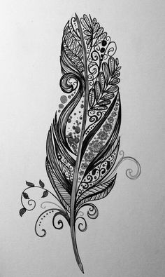 Uploaded by natalie. Find images and videos about black, white and art on We Heart It - the app to get lost in what you love. Henna Feather, Tribal Feather Tattoos, Mandala Feather, Feather Art, Feather Design, Mandala Tattoo, Mandala Art, Feather Vector, Wrist Tattoo Cover Up