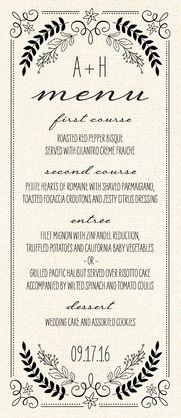 Rustic Wreaths - Signature White Menu Cards - Sarah Hawkins Designs - Almond - Neutral : Front