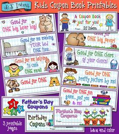 Printable coupons for kids to give to parents & friends! -DJ Inkers