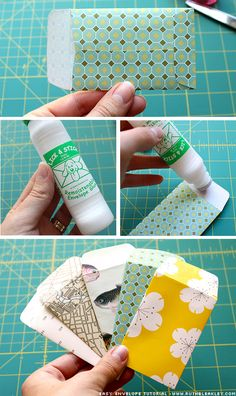 "Tutorial: Easy Tiny Envelopes (Pinned Claire-Sees says: ""Hmmm... you could make yourself a cardboard template from an old cereal box + then use it to trace onto used wrapping/Christmas paper! It'd be a pretty way to re-use all that cute paper :)"".)"