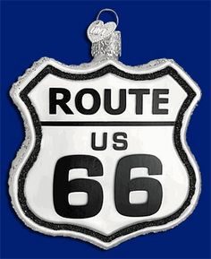 Route 66 Historic Sign Glass Ornament by Old World Christmas