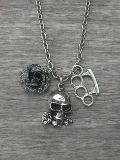 Silver Brass Knuckles Necklace with Silver Skull & Black Rose Charm by InkandRoses13