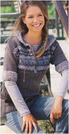 Вязаный спицами пуловер с короткими рукавами и капюшоном (knitting pullover with short sleeves)