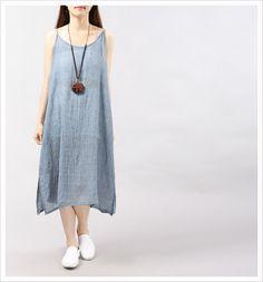 Purple sleeveless dress cotton and linen long dress loose dress linen tunic  dress linen dress casual dress linen clothing 81986b79a
