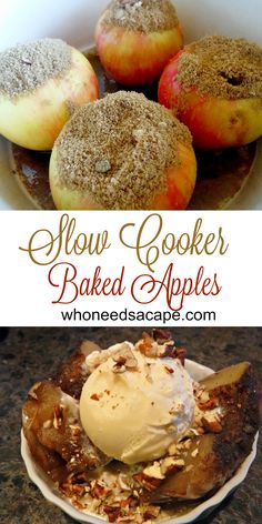Slow Cooker Baked Apples, a delicious fall treat straight from your crockpot. Slow Cooker Fajitas, Slow Cooker Enchiladas, Vegan Slow Cooker, Slow Cooker Soup, Crock Pot Slow Cooker, Crock Pot Cooking, Slow Cooker Apples, Easy Cooking, Crock Pot Desserts