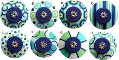 Navy Blue Green Aqua and Turquoise Hand Painted Swarovski Crystal Jeweled Drawer Pulls Knobs Choose Your Designs. $8.50, via Etsy.