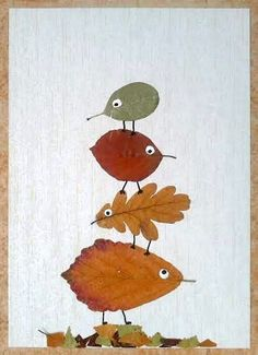 Made with dried autumn leaves, white acrylic paint, black waterproof marker. Glued to wallpaper with glue stick. crafts Made with dried autumn leaves, white acrylic paint, black waterproof marker. Glued to wallpaper with glue stick. Autumn Crafts, Fall Crafts For Kids, Autumn Art, Nature Crafts, Diy For Kids, Autumn Leaves, Kids Crafts, Leaf Crafts, Tree Crafts