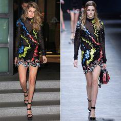 Pin for Later: Diese Stars konnten es nicht erwarten und tragen schon jetzt die Herbst/Winterkollektionen Gigi Hadid in Versace Herbst/Winter 2016