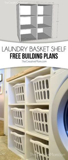 Laundry Sorter Freee Building Plans - This holds 6 standard size laundry baskets and is the perfect solution for laundry room organization. The Creative Mom...