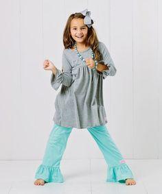 Look at this #zulilyfind! Heather Gray & Egg Blue Dress Set - Infant, Toddler & Girls #zulilyfinds