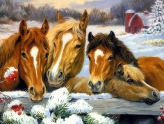 Winter Family of Horses - xmas and new year, lovely, pretty, horses, cute, animals, draw and paint, paintings, family, love four seasons, creative pre-made, colors, Christmas