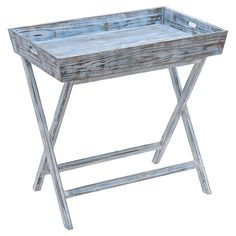 Perfect for displaying framed family photos and a lush floral arrangement, this coastal-chic end table showcases a tray-style top and a weathered blue finish...