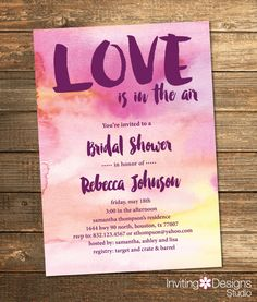 Bridal Shower Invitation, Watercolor, Love is in the Air, Purple, Pink, Yellow, Art, Paint, Retro, Modern (PRINTABLE FILE) by InvitingDesignStudio on Etsy
