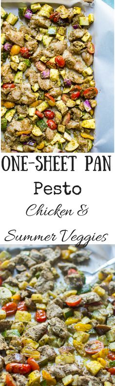 I don't know what is more exciting about this meal. That it is only 5 ingredients. Or that it is cooked entirely on one sheet pan. One-Sheet Pan Pesto Chicken & Summer Veggies is the perfect fast & healthy go-to for when dinner time sneaks up on you! Juic