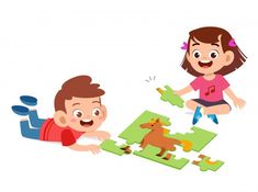 Happy cute kids boy and girl smile together Cartoon Pics, Cartoon Drawings, School Clipart, Beautiful Girl Image, Puzzles For Kids, Cute Illustration, Teaching Math, Kids Boys, Kids Playing