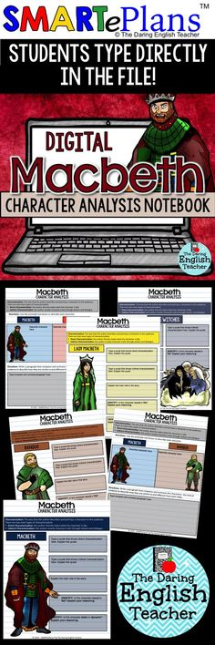 "Digital Macbeth character analysis notebook for Google Drive. Analyze each main character in William Shakepeare's ""Macbeth"". This activity is perfect for the digital or 1:1 high school English classroom."