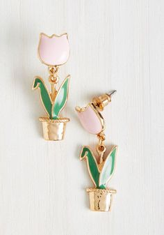 When you have earrings as darling as this dangling duo, your outfits are complete the second you don them. Fashioned into petal pink tulips planted within golden pots, this ModCloth-exclusive pair is ready to join your lovely looks!