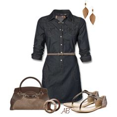 Denim Dress, created by amandabeaulieu on Polyvore