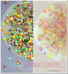 candy chromatography essay example Candy chromatogephy candy chromatography abstract: the experiment is about is the green color in skittles and m and m s different the hypothesis for this project is the skittles have more candy than the m and m s and because m and ms has nuts the materials for this project is 2green skittles,2green m and m s ,aluminum foil,water,dropper,toothpick,pencil,2cofee filters,scissors,metric.